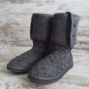 UGG Shoes - UGG Charcoal Knit Sweater Cardy Lattice Boots